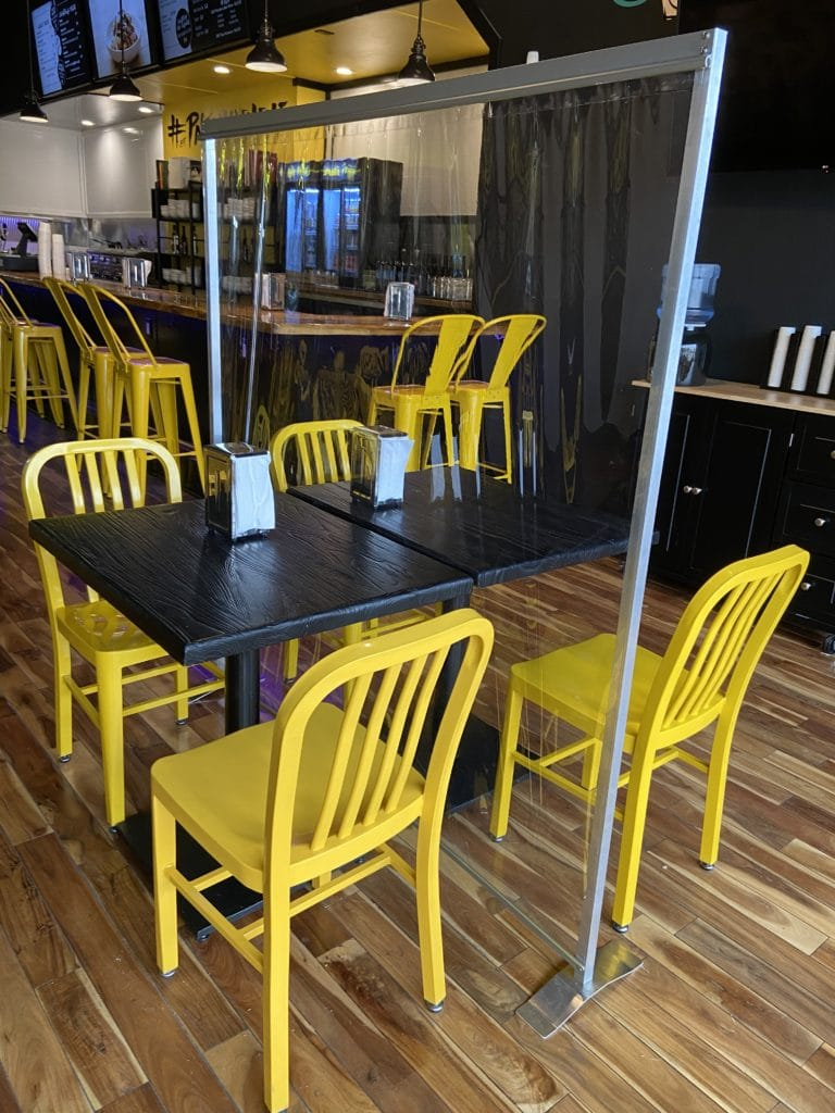 image of floor standing partition in restaurant application